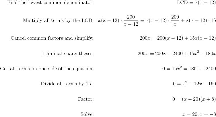 \text{Find the lowest common denominator:} && \text{LCD} =x(x-12) \\\\\text{Multiply all terms by the LCD:} && x(x-12) \cdot \frac{200}{x-12}=x(x-12) \cdot \frac{200}{x}+x(x-12) \cdot 15 \\\\\text{Cancel common factors and simplify:} && 200x=200(x-12)+15x(x-12) \\\\\text{Eliminate parentheses:} && 200x=200x-2400+15x^2-180x \\\\\text{Get all terms on one side of the equation:} && 0=15x^2=180x-2400 \\\\\text{Divide all terms by} \ 15: && 0=x^2-12x-160 \\\\\text{Factor:} && 0=(x-20)(x+8) \\\\\text{Solve:} && x=20, x=-8