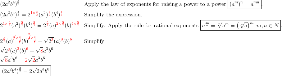 & (2a^2b^4)^{\frac{3}{2}} && \text{Apply the law of exponents for raising a power to a power} \ \boxed{(a^m)^n=a^{mn}}.\\& (2a^2b^4)^{\frac{3}{2}}=2^{{\color{red}1 \times \frac{3}{2}}}(a^2)^{{\color{red}\frac{3}{2}}}(b^4)^{{\color{red}\frac{3}{2}}} && \text{Simplify the expression}.\\& 2^{{\color{red}1 \times \frac{3}{2}}} (a^2)^{{\color{red}\frac{3}{2}}} (b^4)^{{\color{red}\frac{3}{2}}}=2^{{\color{red}\frac{3}{2}}}(a)^{{\color{red}2 \times \frac{3}{2}}}(b)^{{\color{red}4 \times \frac{3}{2}}} && \text{Simplify. Apply the rule for rational exponents} \ \boxed{a^{\frac{m}{n}}=\sqrt[n]{a^m}=\left(\sqrt[n]{a}\right)^m \ m,n \in N}.\\& 2^{\color{red}\frac{3}{2}}(a)^{{\color{red}\cancel{2} \times \frac{3}{\cancel{2}}}} (b)^{{\color{red}\overset{2}{\cancel{4}} \times \frac{3}{\cancel{2}}}}=\sqrt{2^{{\color{red}3}}} (a)^{\color{red}3}(b)^{\color{red}6} &&  \text{Simplify}\\& \sqrt{2^{\color{red}3}}(a)^{\color{red}3}(b)^{\color{red}6}=\sqrt{{\color{red}8}}a^3b^6\\& \sqrt{{\color{red}8}}a^3b^6={\color{red}2} \sqrt{{\color{red}2}} a^3b^6\\& \boxed{(2a^2b^4)^{\frac{3}{2}}=2 \sqrt{2}a^3b^6}