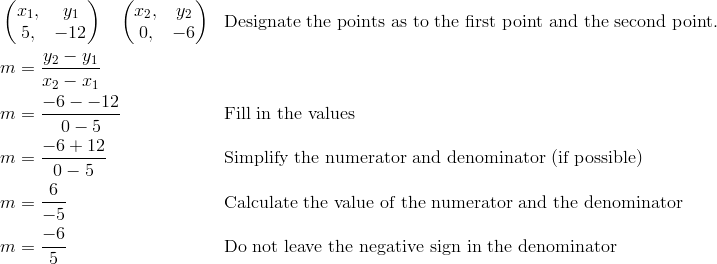 & \begin{pmatrix}  x_1, & y_1 \\  5, & -12 \end{pmatrix} \quad \begin{pmatrix} x_2, & y_2 \\  0, & -6 \end{pmatrix} && \text{Designate the points as to the first point and the second point.}\\& m =\frac{y_2-y_1}{x_2-x_1}\\& m =\frac{-6--12}{0-5} && \text{Fill in the values}\\& m =\frac{-6+12}{0-5} && \text{Simplify the numerator and denominator (if possible)}\\& m =\frac{6}{-5} && \text{Calculate the value of the numerator and the denominator}\\& m =\frac{-6}{5} && \text{Do not leave the negative sign in the denominator}