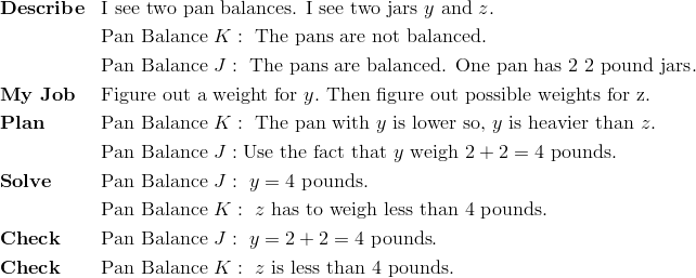 & \mathbf{Describe} && \text{I see two pan balances. I see two jars} \ y \ \text{and} \ z.\\ &&& \text{Pan Balance} \ K: \ \text{The pans are not balanced}.\\ &&& \text{Pan Balance} \ J: \ \text{The pans are balanced. One pan has 2} \ 2 \ \text{pound jars}.\\& \mathbf{My \ Job} && \text{Figure out a weight for} \ y. \ \text{Then figure out possible weights for z.}\\& \mathbf{Plan} && \text{Pan Balance} \ K: \ \text{The pan with} \ y \ \text{is lower so,} \ y \ \text{is heavier than} \ z.\\&&& \text{Pan Balance} \ J: \text{Use the fact that} \ y \ \text{weigh} \ 2 + 2 =4 \ \text{pounds}.\\& \mathbf{Solve} && \text{Pan Balance} \ J: \  y  = 4 \ \text{pounds.}\\&&& \text{Pan Balance} \ K: \ z \ \text{has to weigh less than} \ 4 \ \text{pounds}.\\& \mathbf{Check} && \text{Pan Balance} \ J: \ y=2+2=4 \ \text{pounds}.\\& \mathbf{Check} && \text{Pan Balance} \ K:   \ z \ \text{is less than 4 pounds.}