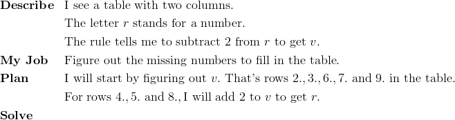 & \mathbf{Describe} && \text{I see a table with two columns}.\\ &&& \text{The letter} \ r \ \text{stands for a number}.\\ &&& \text{The rule tells me to subtract} \ 2 \ \text{from} \ r \ \text{to get} \ v.\\& \mathbf{My \ Job} && \text{Figure out the missing numbers to fill in the table}.\\& \mathbf{Plan} && \text{I will start by figuring out} \ v. \ \text{That's rows} \ 2., 3., 6., 7. \ \text{and} \ 9. \ \text{in the table}.\\&&& \text{For rows} \ 4., 5. \ \text{and} \ 8., \text{I will add} \ 2 \ \text{to} \ v \ \text{to get} \ r.\\& \mathbf{Solve}