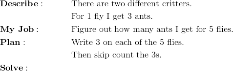 & \mathbf{Describe:} && \text{There are two different critters.}\\&&& \text{For 1 fly I get 3 ants.}\\& \mathbf{My \ Job:} && \text{Figure out how many ants I get for 5 flies.}\\& \mathbf{Plan:} && \text{Write 3 on each of the 5 flies.}\\&&& \text{Then skip count the 3s.}\\& \mathbf{Solve:}