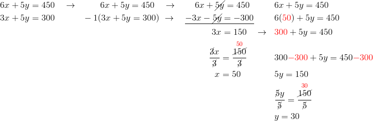 & 6x+5y=450 \quad \rightarrow && \qquad  6x+5y=450 \quad \rightarrow \qquad 6x+\cancel{5y}=450 && 6x+5y=450\\& 3x+5y=300 && -1(3x+5y=300) \ \rightarrow  \quad \underline{-3x-\cancel{5y}=-300} && 6({\color{red}50})+5y=450\\& && \qquad \qquad \qquad \qquad \qquad \qquad \qquad \ \  3x=150 \quad \rightarrow && {\color{red}300}+5y=450\\& && \qquad \qquad \qquad \qquad \qquad \qquad \qquad \ \frac{\cancel{3}x}{\cancel{3}}=\frac{\overset{{\color{red}50}}{\cancel{150}}}{\cancel{3}} && 300{\color{red}-300}+5y=450{\color{red}-300}\\& && \qquad \qquad \qquad \qquad \qquad \qquad \qquad \quad x=50 && 5y=150\\& && && \frac{\cancel{5}y}{\cancel{5}}=\frac{\overset{{\color{red}30}}{\cancel{150}}}{\cancel{5}}\\& && && y=30