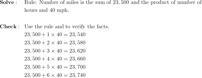 & \mathbf{Solve:} && \text{Rule: Number of miles is the sum of} \ 23,500 \ \text{and the product of number of}\\&&& \text{hours and} \ 40 \ \text{mph.}\\\\& \mathbf{Check:} && \text{Use the rule and to verify the facts.}\\&&& 23,500 + 1 \times 40=23,540\\&&& 23,500 + 2 \times 40=23,580\\&&& 23,500 + 3 \times 40=23,620\\&&& 23,500 + 4 \times 40=23,660\\&&& 23,500 + 5 \times 40=23,700\\&&& 23,500 + 6 \times 40=23,740