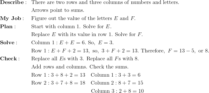 & \mathbf{Describe:} && \text{There are two rows and three columns of numbers and letters.}\\&&& \text{Arrows point to sums.}\\& \mathbf{My \ Job:} && \text{Figure out the value of the letters} \ E \ \text{and} \ F.\\& \mathbf{Plan:} && \text{Start with column 1. Solve for}\ E.\\&&& \text{Replace}\ E \ \text{with its value in row 1. Solve for}\ F.\\& \mathbf{Solve:} && \text{Column} \ 1: E + E = 6. \ \text{So}, \ E = 3.\\&&& \text{Row} \ 1: E + F + 2 = 13, \ \text{so}, \ 3 + F + 2 = 13. \ \text{Therefore}, \ F = 13 - 5, \ \text{or}\ 8.\\& \mathbf{Check:} && \text{Replace all}\ E\text{s with 3. Replace all}\ F\text{s with 8.}\\&&& \text{Add rows and columns. Check the sums.}\\&&& \text{Row} \ 1: 3 + 8 + 2 = 13 \quad \text{Column} \ 1: 3 + 3 = 6\\&&& \text{Row} \ 2: 3 + 7 + 8 = 18 \quad \text{Column} \ 2: 8 + 7 = 15\\&&& \qquad \qquad \qquad \qquad \qquad \quad \text{Column} \ 3: 2 + 8 = 10