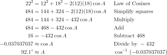 22^2 & = 12^2 + 18^2 - 2(12)(18) \cos A && \text{Law of Cosines} \\ 484 & = 144 + 324 - 2(12)(18) \cos A && \text{Simplify squares} \\ 484 & = 144 + 324 - 432 \cos A && \text{Multiply} \\ 484 & = 468 - 432 \cos A && \text{Add} \\ 16 & = -432 \cos A && \text{Subtract}\ 468 \\-0.037037037 & \approx \cos A && \text{Divide by}\ -432 \\ 92.1^\circ & \approx A && \cos^{-1} \ (-0.037037037)