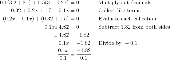 0.1 (3.2 +2x) +0.5 (3- 0.2x)& = 0\ && \text{Multiply out decimals:} \\0.32 +0.2x +1.5 - 0.1x & = 0\ && \text{Collect like terms:} \\(0.2x -0.1x) + (0.32+1.5) & = 0\ && \text{Evaluate each collection:} \\0.1x \cancel{+1.82} & = 0\ && \text{Subtract}\ 1.82\ \text{from both sides} \\\cancel{-1.82} &  \ \ -1.82 \\0.1x & = -1.82\ && \text{Divide by}\ -0.1 \\\frac{0.1x}{0.1} & = \frac{-1.82}{0.1}