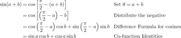 \sin(a + b) & = \cos \left [\frac{\pi}{2} - (a+b) \right ] && \text{Set}\ \theta = a + b\\& = \cos \left [\left (\frac{\pi}{2} - a \right ) - b \right ]&& \text{Distribute the negative} \\ & = \cos \left (\frac{\pi}{2} - a \right ) \cos b + \sin \left (\frac{\pi}{2} - a \right ) \sin b && \text{Difference Formula for cosines} \\ & = \sin a \cos b + \cos a \sin b && \text{Co-function Identities}