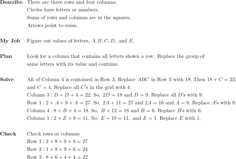 &\mathbf{Describe} && \text{There are three rows and four columns.}\\&&& \text{Circles have letters or numbers.}\\&&& \text{Sums of rows and columns are in the squares.}\\&&& \text{Arrows point to sums.}\\\\& \mathbf{My \ Job} && \text{Figure out values of letters,} \ A, B, C, D, \ \text{and} \ E.\\\\&\mathbf{Plan} && \text{Look for a column that contains all letters shown a row. Replace the group of}\\&&& \text{same letters with its value and continue.}\\\\&\mathbf{Solve} && \text{All of Column} \ 4 \ \text{is contained in Row} \ 3. \ \text{Replace} \ ABC \ \text{in Row} \ 3 \ \text{with} \ 18. \ \text{Then} \ 18 + C = 22,\\&&& \text{and} \ C = 4. \ \text{Replace all} \ C' \text{s in the grid with} \ 4.\\&&& \text{Column} \ 3: D + D + 4 = 22. \ \text{So}, \ 2D = 18 \ \text{and} \ D = 9. \ \text{Replace all} \ D' \text{s with} \ 9.\\&&& \text{Row} \ 1: 2 + A + 9 + A = 27. \ \text{So}, \ 2A + 11 = 27 \ \text{and} \ 2A = 16 \ \text{and} \ A = 8. \ \text{Replace} \ A' \text{s with} \ 8.\\&&& \text{Column} \ 4: 8 + B + 4 = 18. \ \text{So}, \ B + 12 = 18 \ \text{and} \ B = 6. \ \text{Replace} \ B'\text{s with} \ 6.\\&&& \text{Column} \ 1: 2 + E + 8 = 11. \ \text{So}, \ E + 10 = 11, \ \text{and} \ E = 1. \ \text{Replace} \ E \ \text{with} \ 1.\\\\&\mathbf{Check} && \text{Check rows or columns}\\&&& \text{Row} \ 1: 2 + 8 + 9 + 8 = 27\\&&& \text{Row} \ 2: 1 + 8 + 9 + 6 = 24\\&&& \text{Row} \ 3: 8 + 6 + 4 + 4 = 22