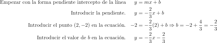 \text{Empezar con la forma pendiente intercepto de la l\'{i}nea} && y & = mx + b\\\text{Introducir la pendiente}. && y & = -\frac{2}{3}x + b\\\text{Introducir el punto} \ (2,-2) \ \text{en la ecuaci\'{o}n}.&& -2 & =-\frac{2}{3}(2)+b \Rightarrow b=-2+\frac{4}{3}=-\frac{2}{3}\\\text{Introducir el valor de} \ b \ \text{en la ecuaci\'{o}n}.&& y & =-\frac{2}{3}x-\frac{2}{3}